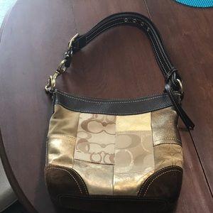 Coach Patchwork suede & gold leather shoulder bag